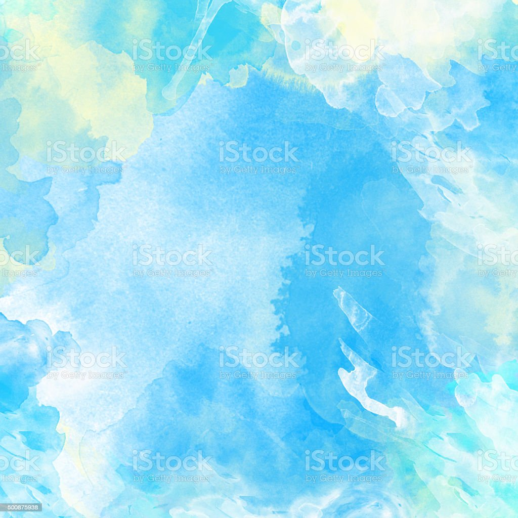 Blue watercolor painted background vector art illustration