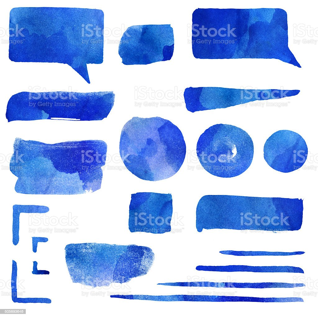 Blue watercolor shapes elements set vector art illustration