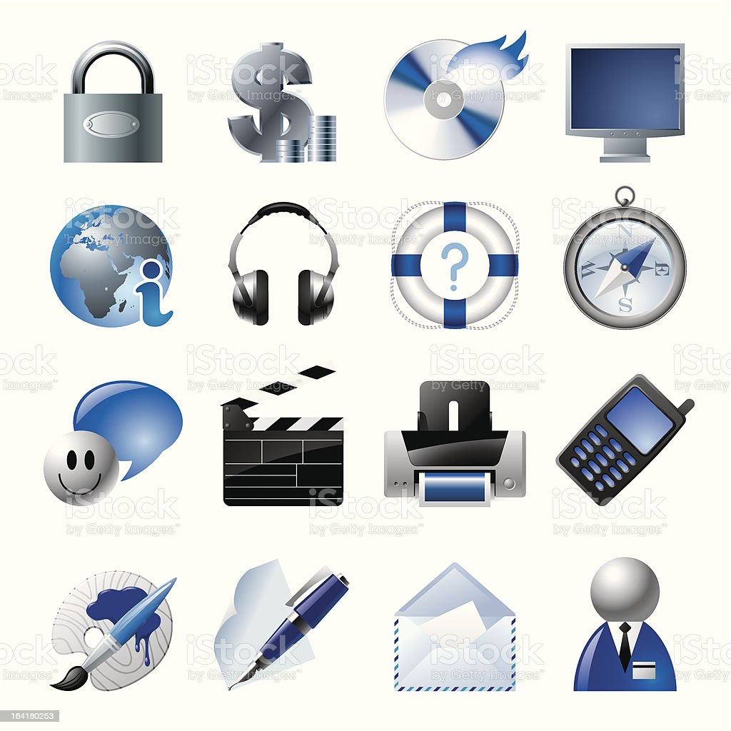 Blue website and internet icons 1 vector art illustration