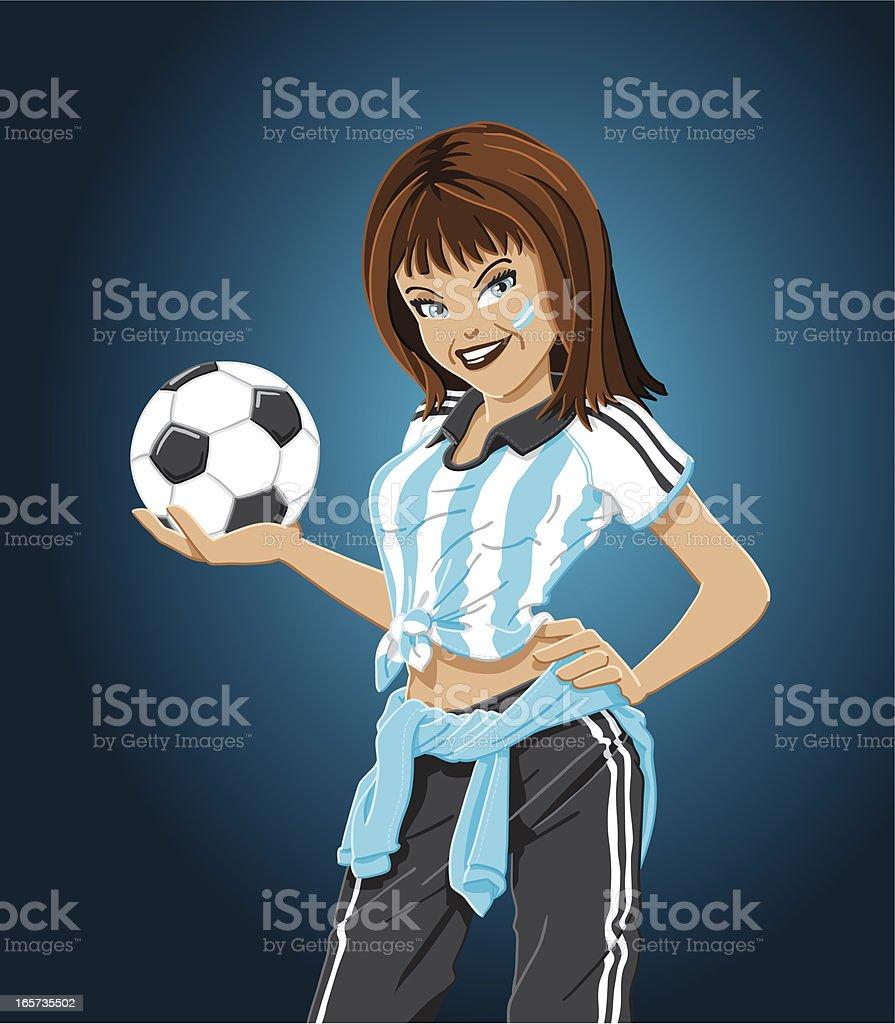 Blue White Soccer Fan Woman royalty-free stock vector art