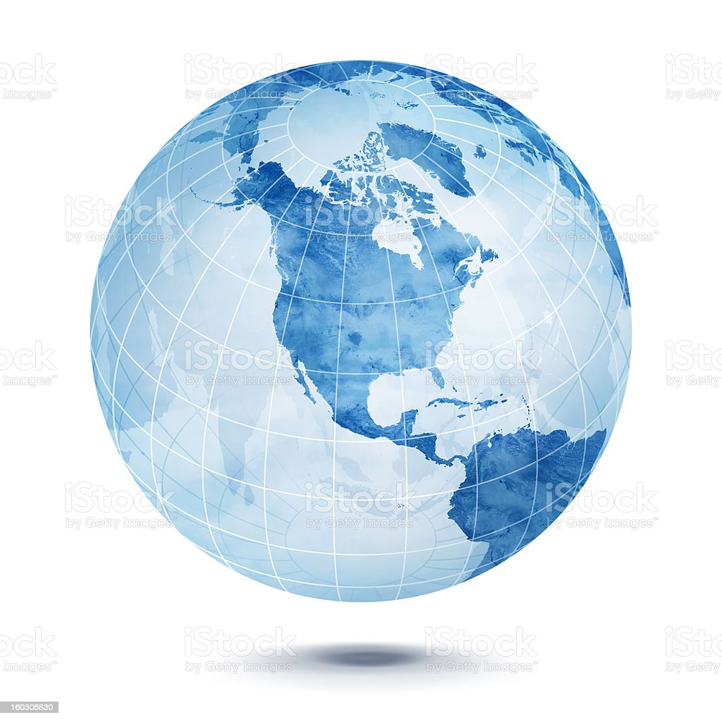Blue World globe vector art illustration