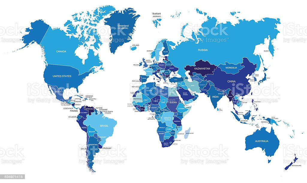 Blue World Political Map vector art illustration