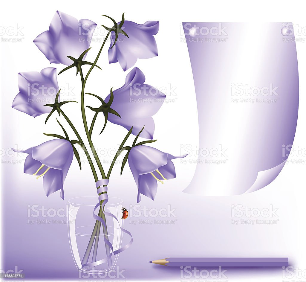 Bluebell in the glass vector art illustration