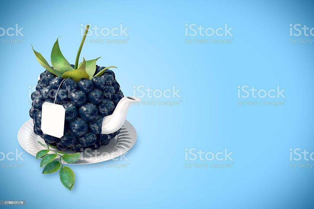 Myrtille tasse à thé stock vecteur libres de droits libre de droits