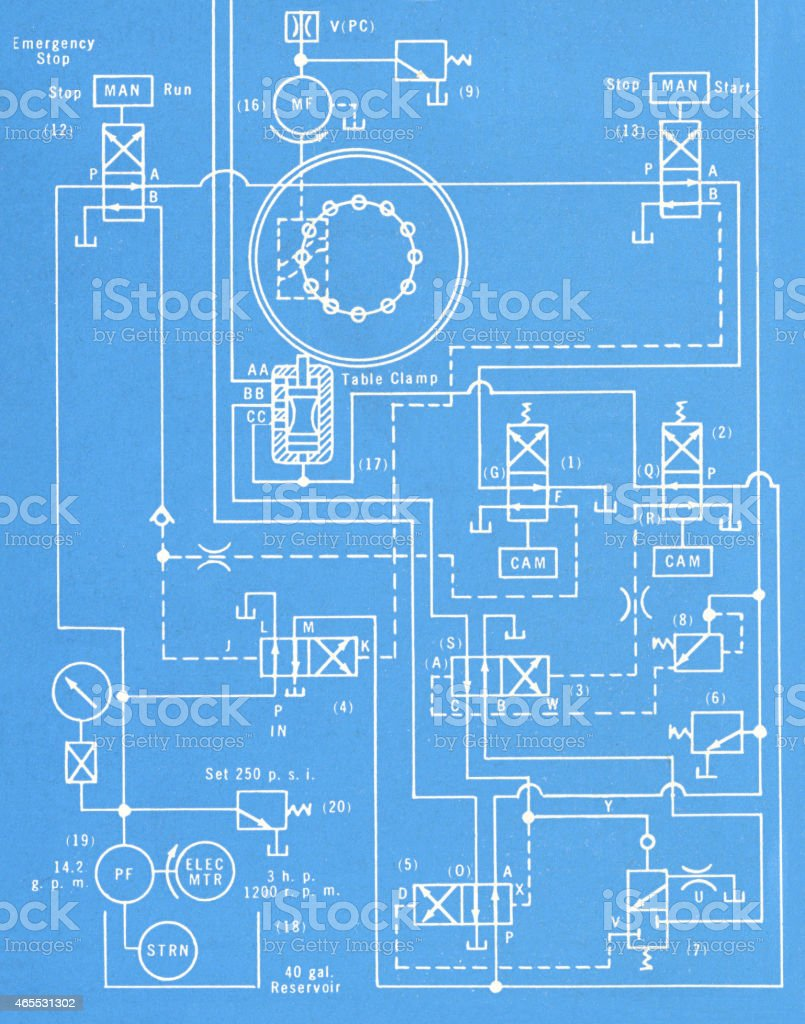 Blueprint vector art illustration