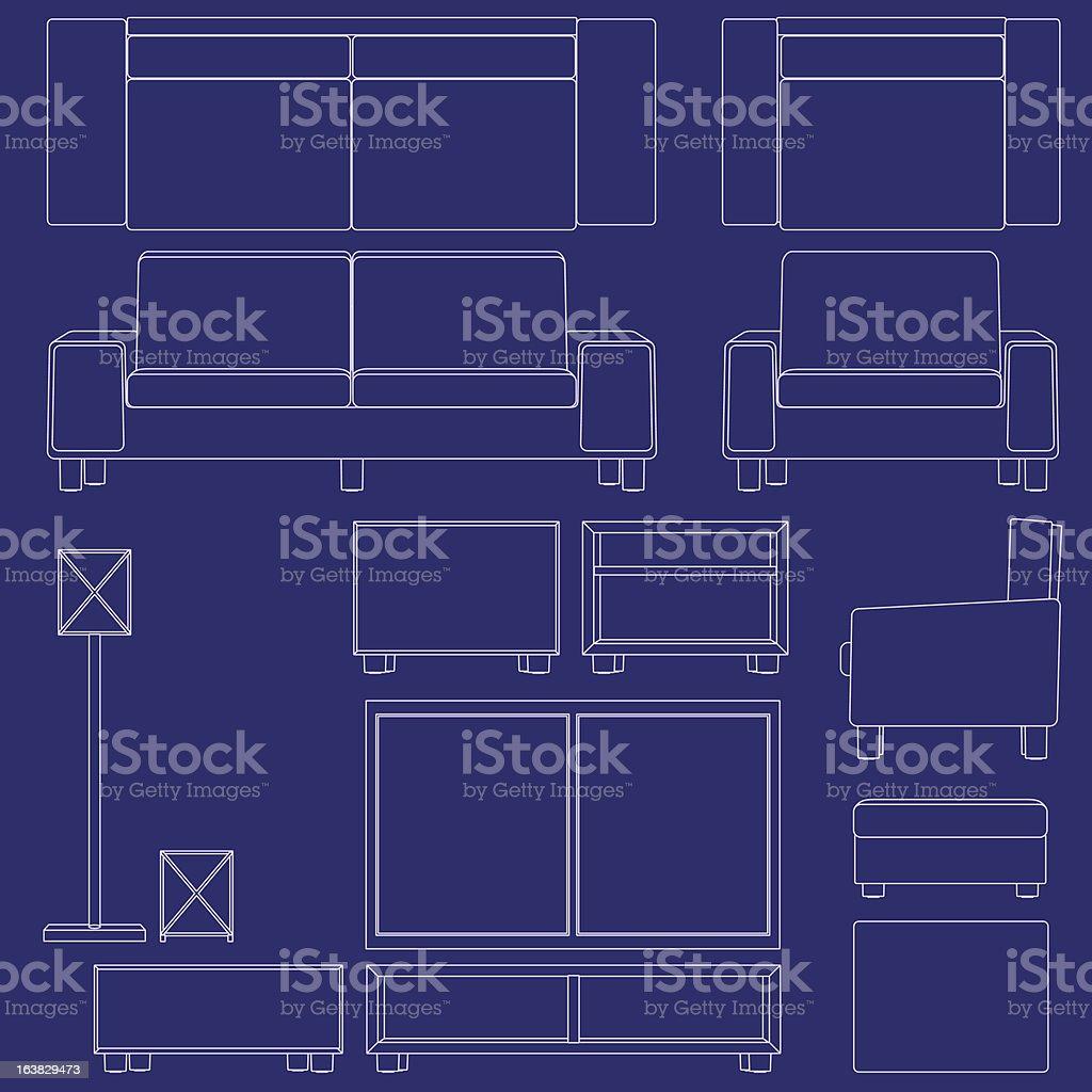 Blueprint living room furniture royalty-free stock vector art