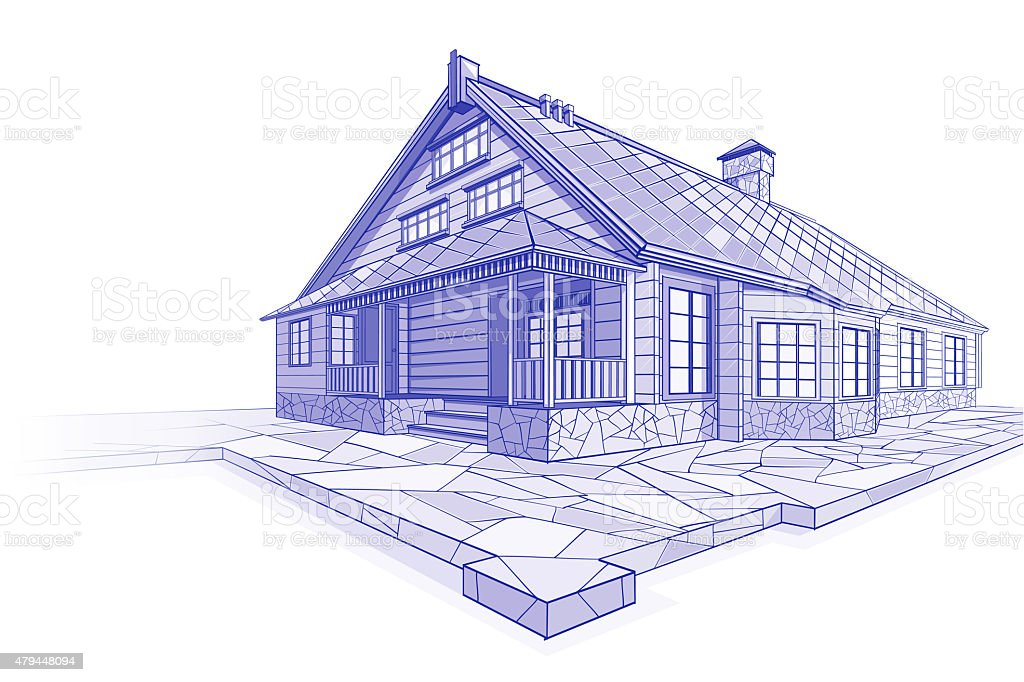 Blueprint of a modern house vector art illustration