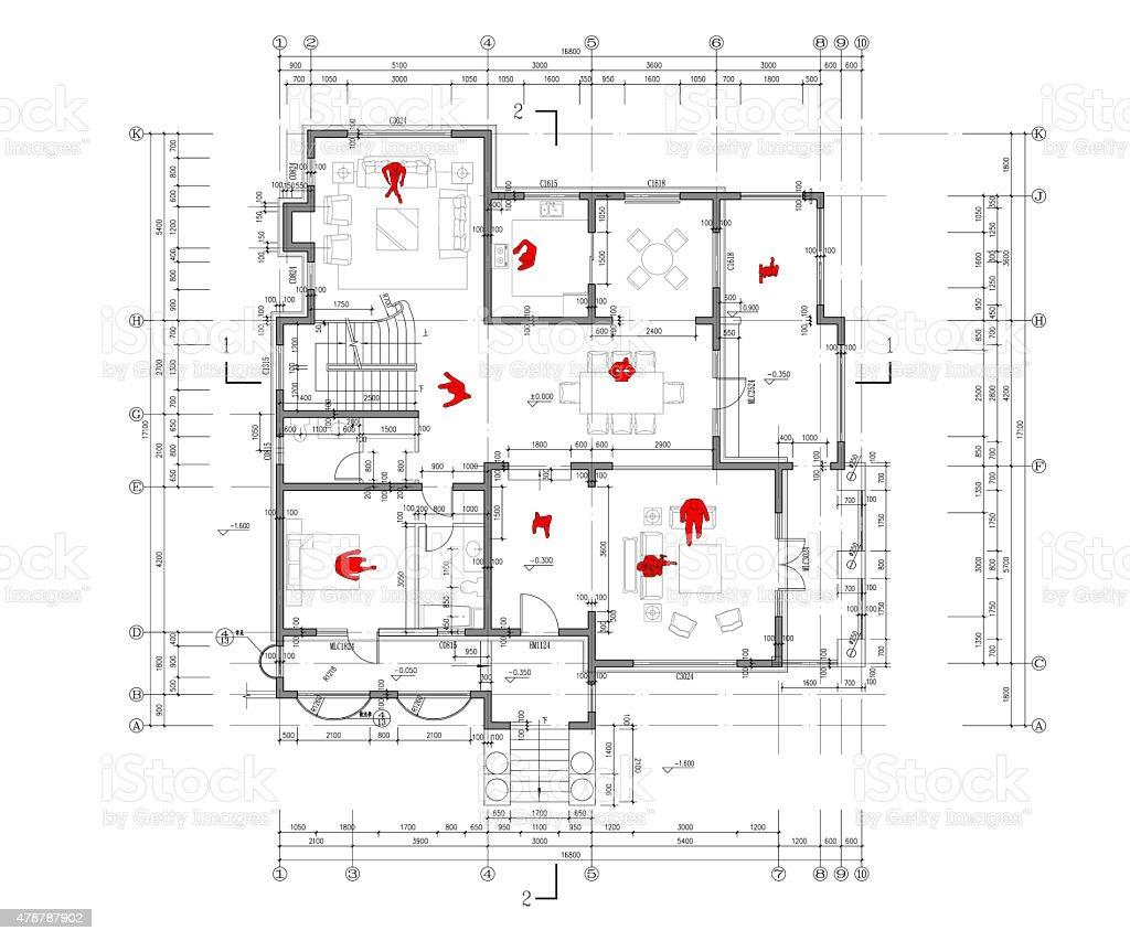 Blueprint of Architecture vector art illustration