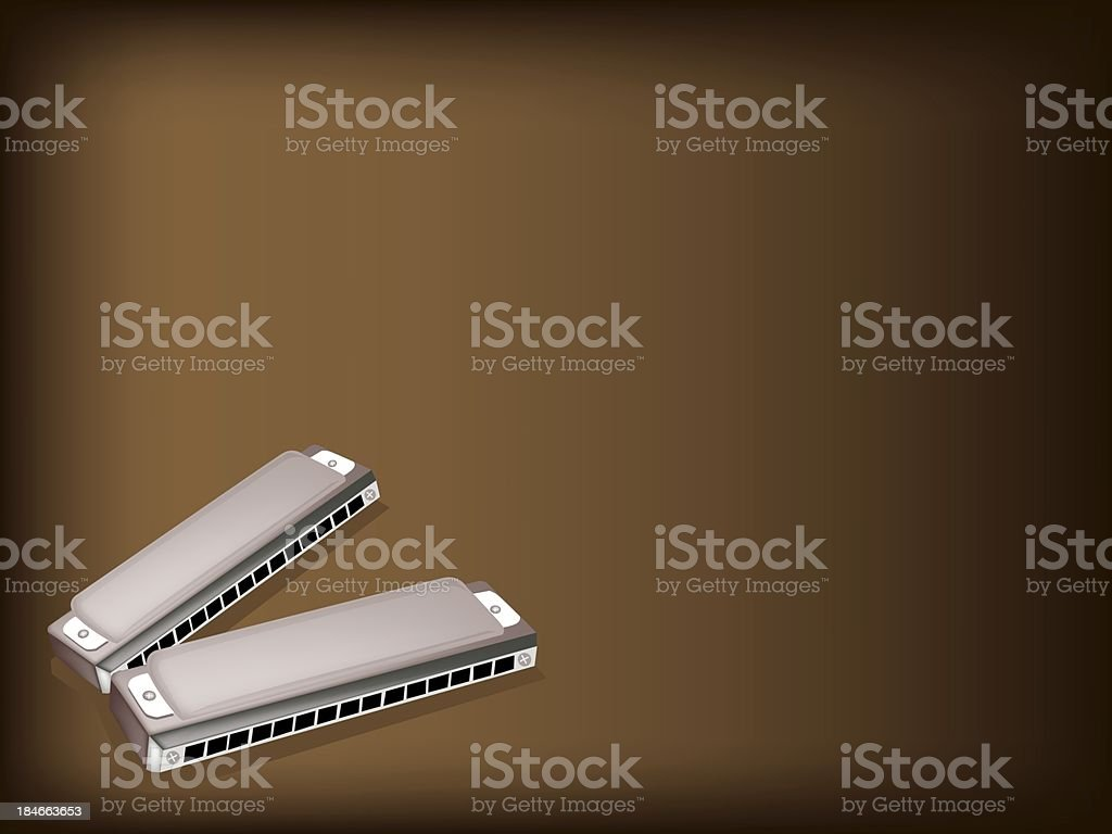 Blues Harmonica on Dark Brown Background royalty-free stock vector art