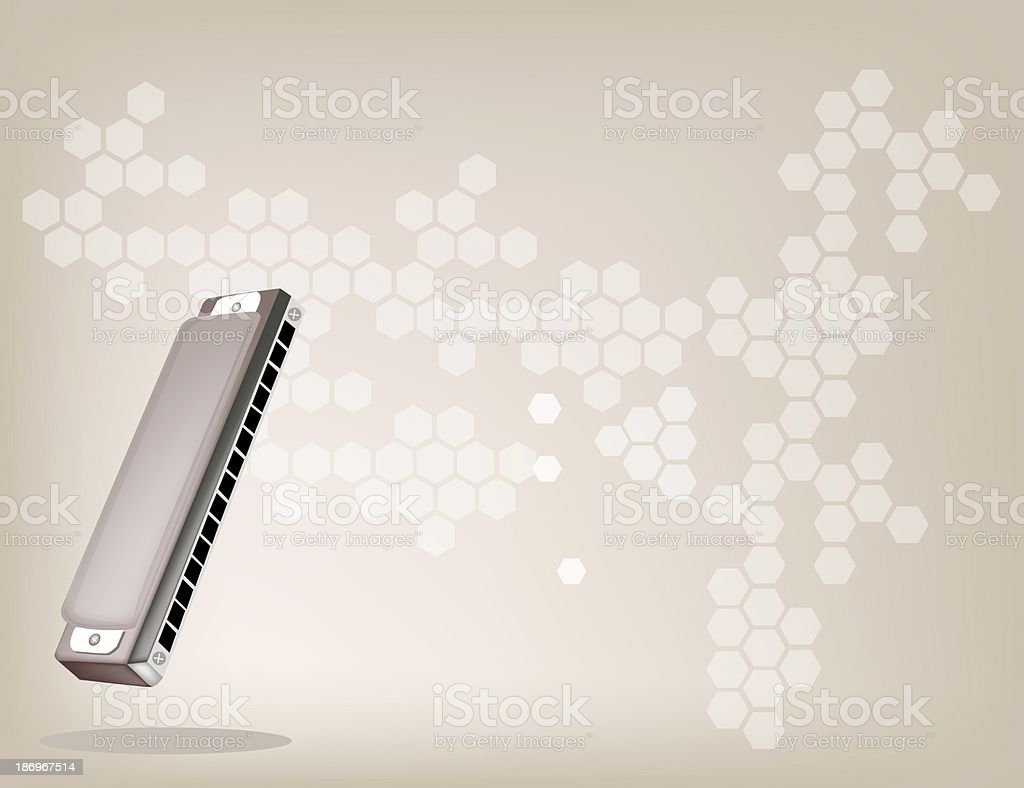 Blues Harmonica on Light Brown Background royalty-free stock vector art