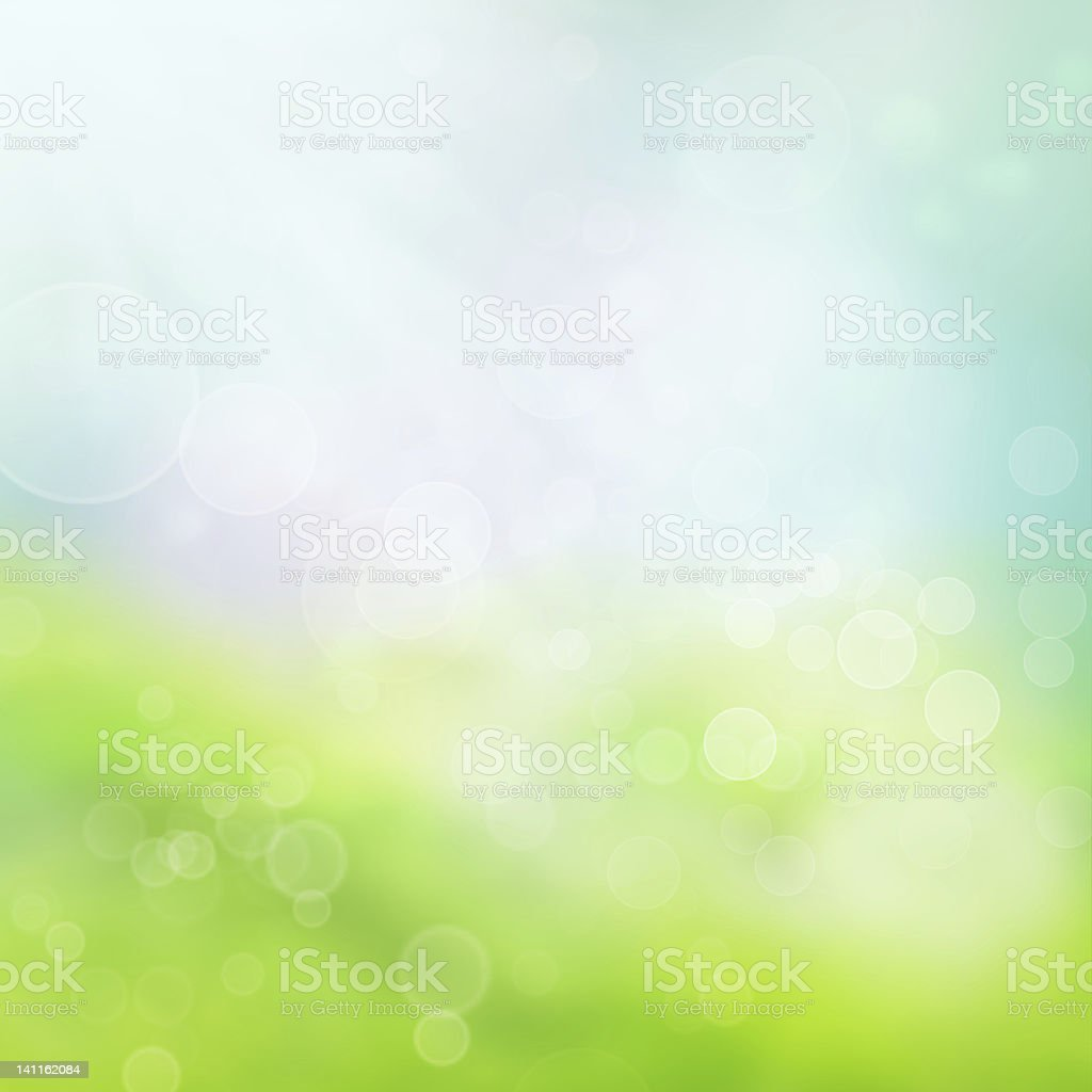 A blurred spring background in blue and green vector art illustration