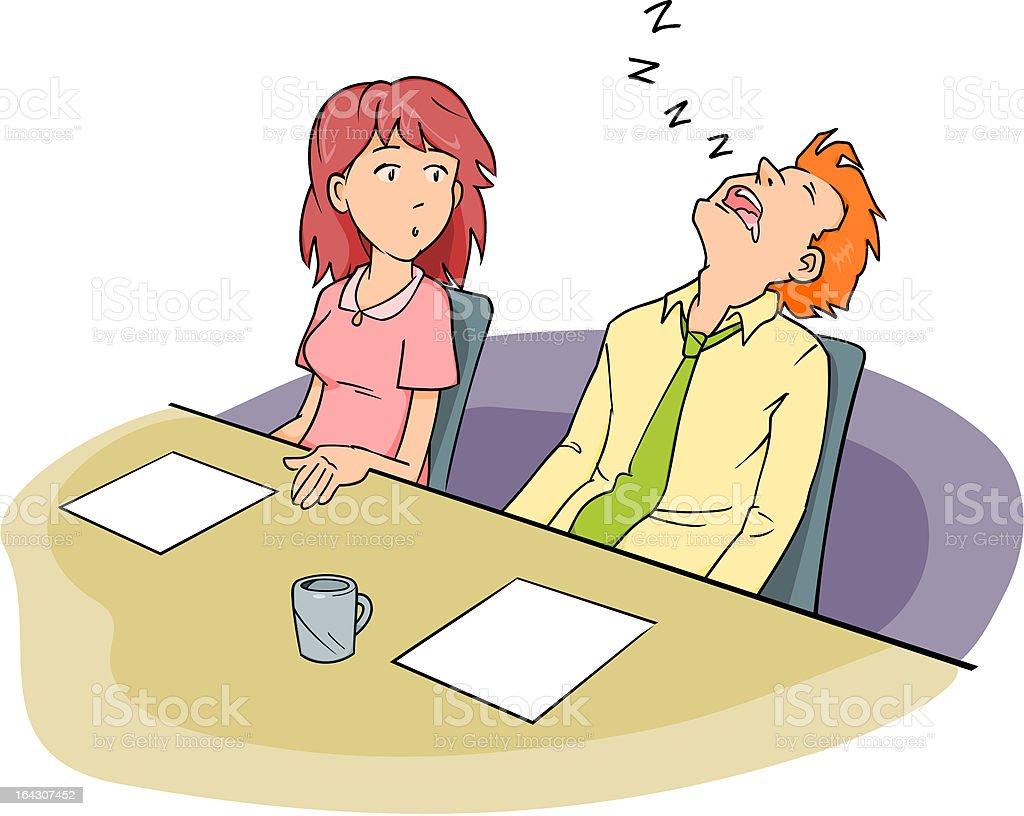 Board Meeting Sleeping Man vector art illustration
