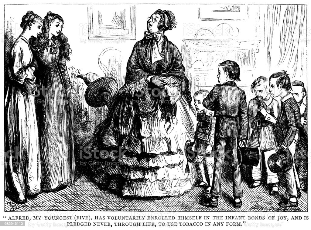 Boastful Victorian mother with her children vector art illustration