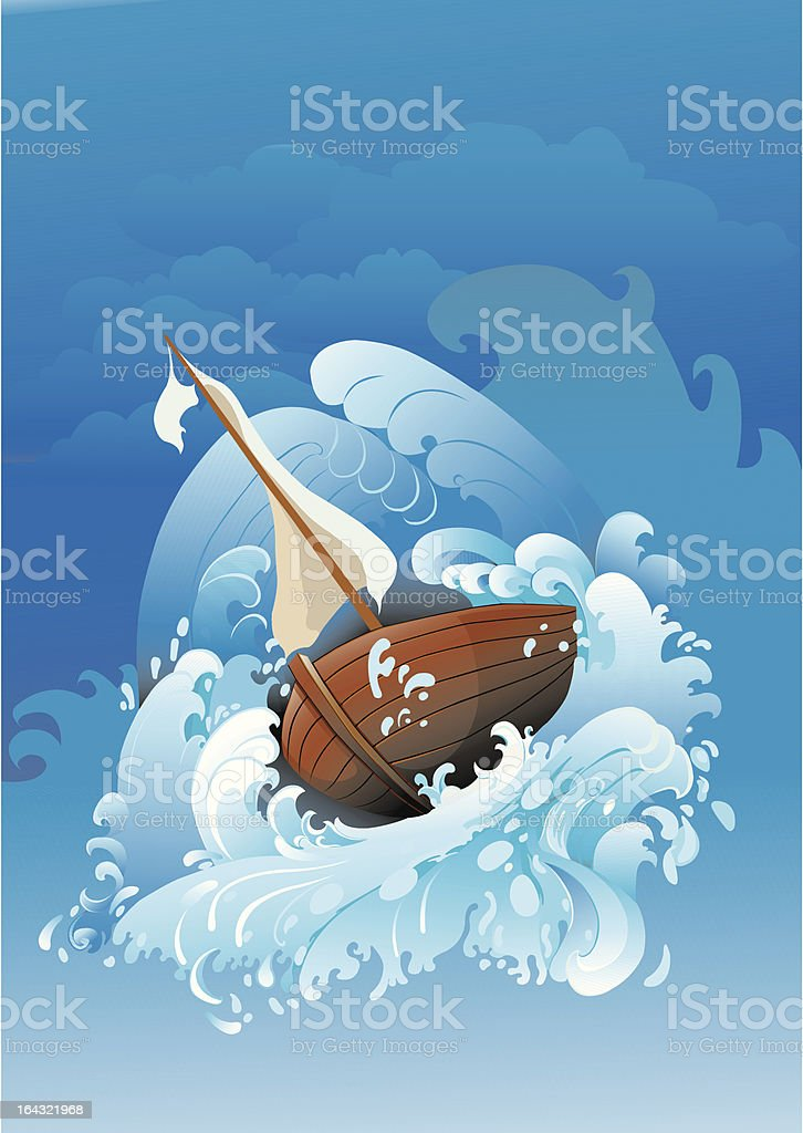 Boat in storm vector art illustration