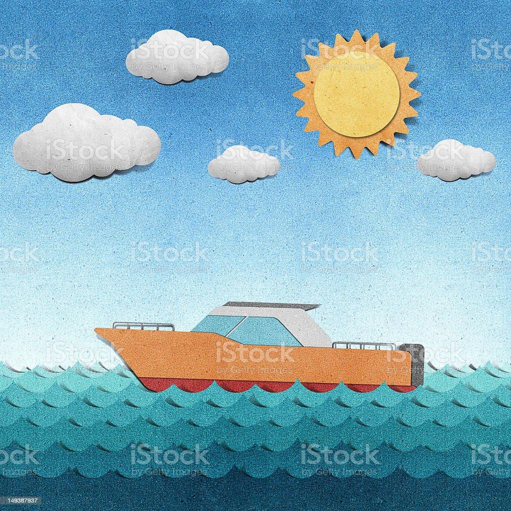 Boat made from recycled paper royalty-free stock vector art