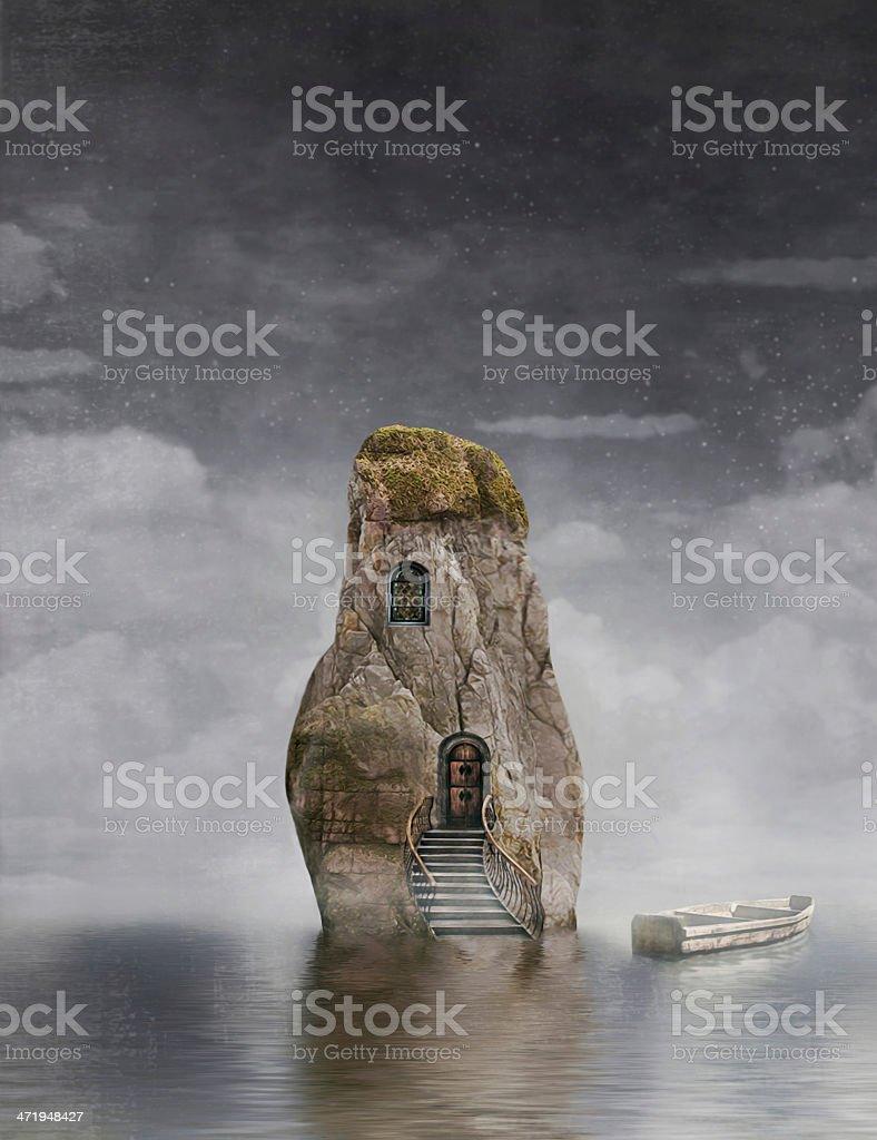 Boat near the rock vector art illustration