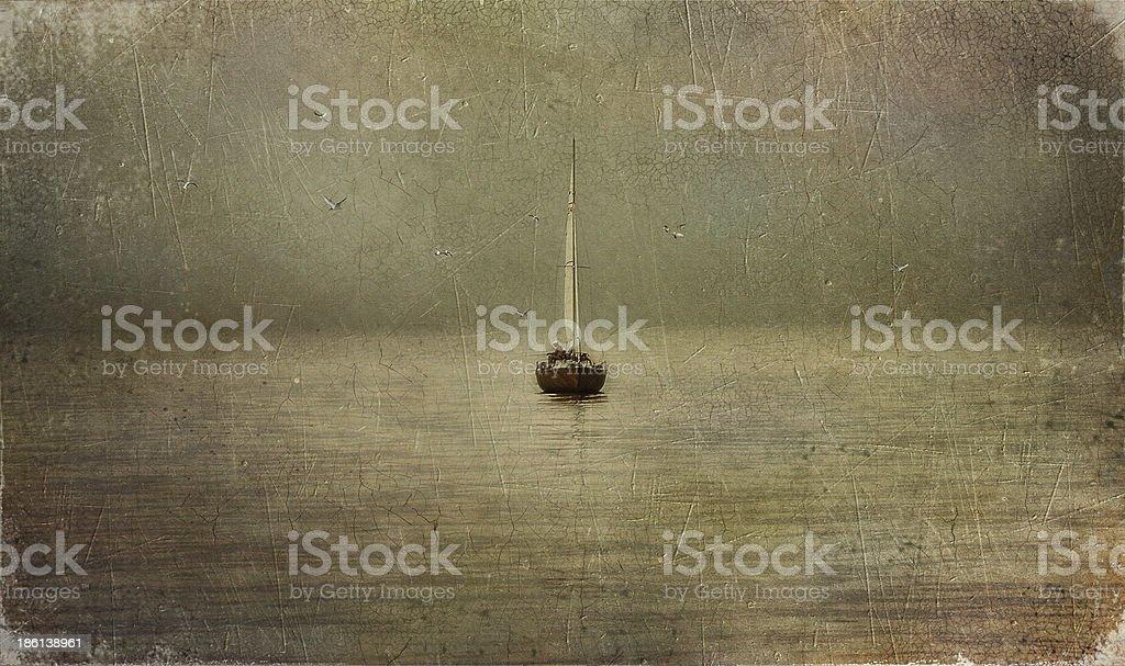 Boat on river vector art illustration