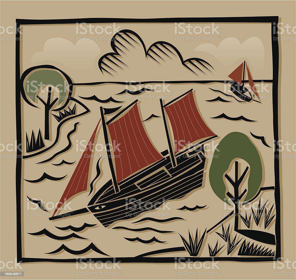 Boat print royalty-free stock vector art
