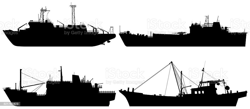 Boat Silhouettes vector art illustration