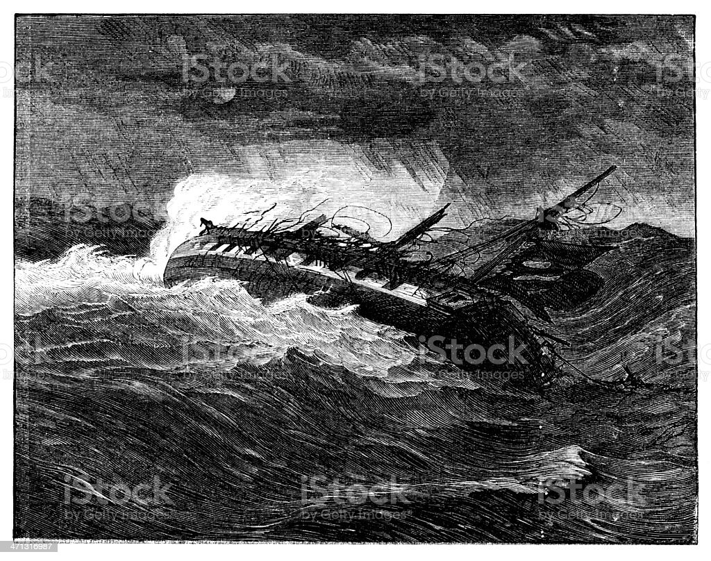 Boat wrecked in storm print from 1862 magazine royalty-free stock vector art