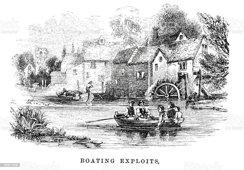 Boating exploits royalty-free stock vector art