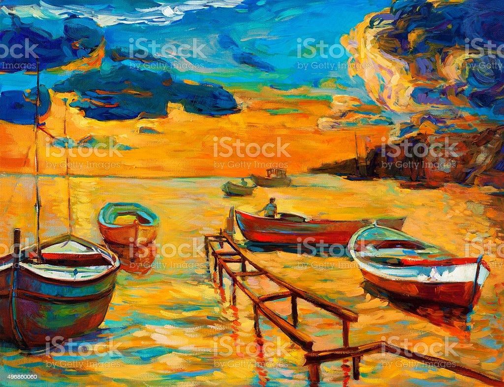 Boats vector art illustration