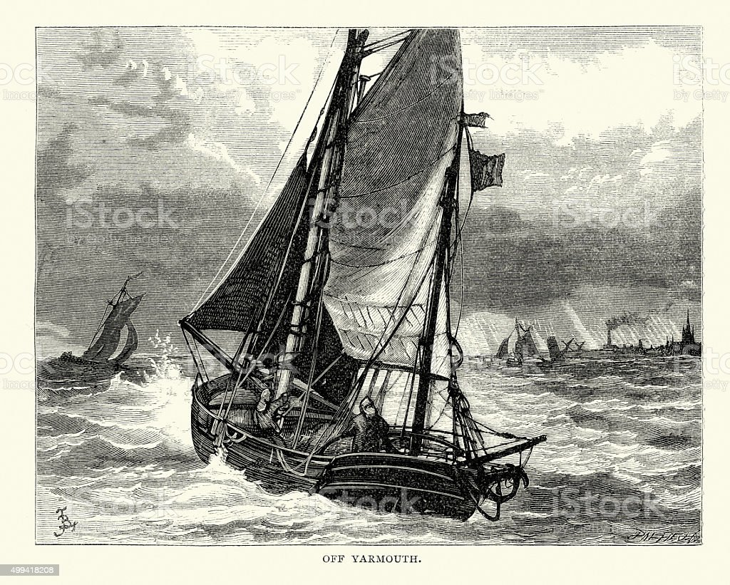 Boats off Yarmouth vector art illustration