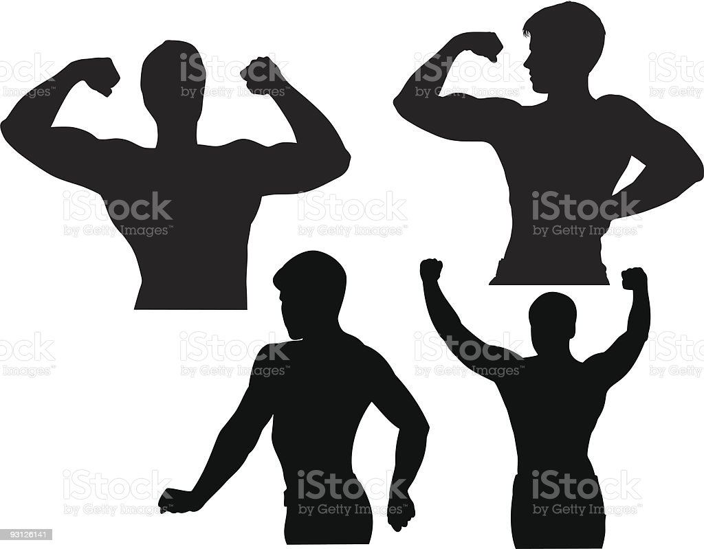 Bodybuilder silhouette vector art illustration