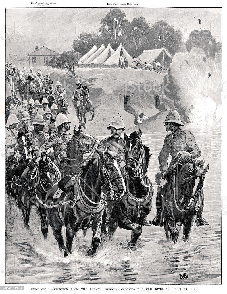 Boer War Gunners under fire vector art illustration