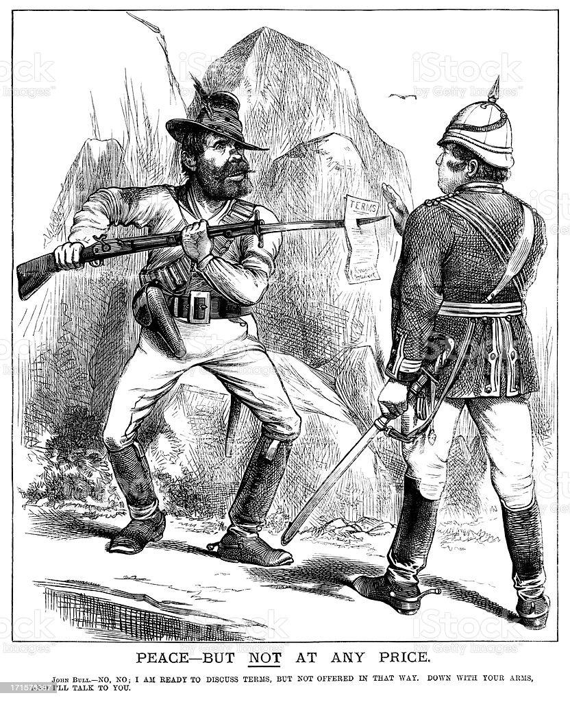 Boer War stand-off vector art illustration