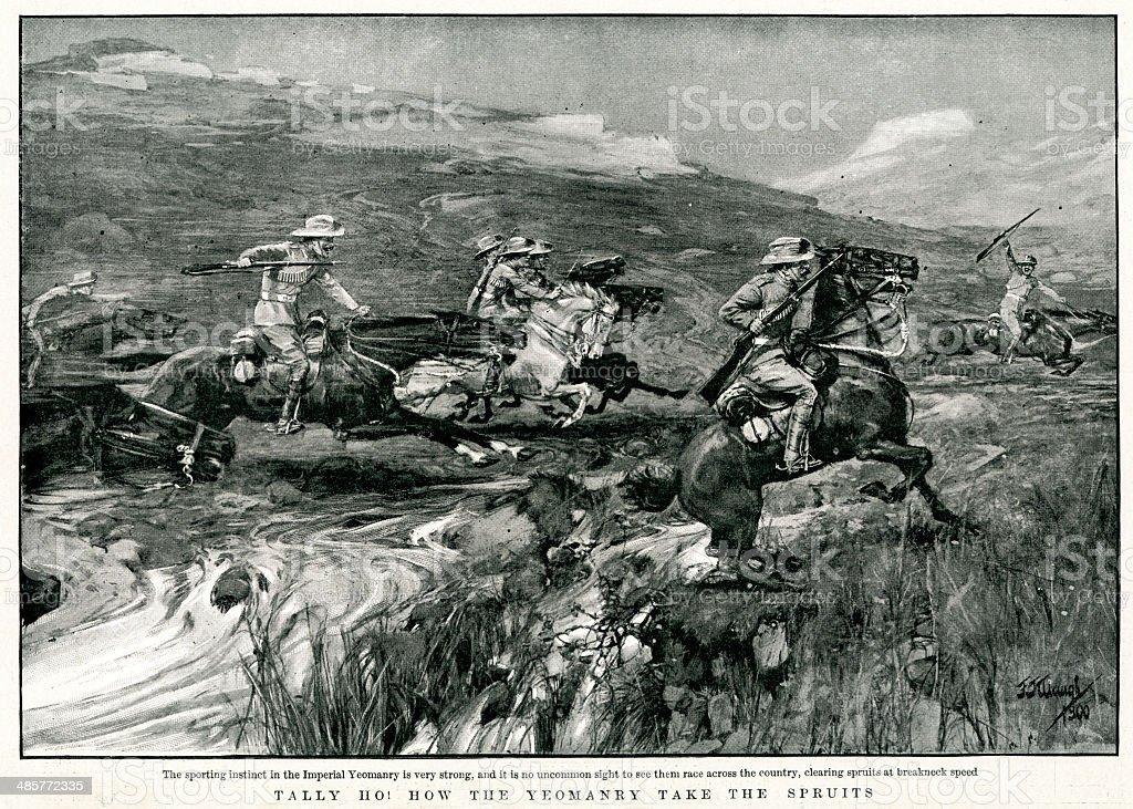 Boer War - Tally Ho! vector art illustration