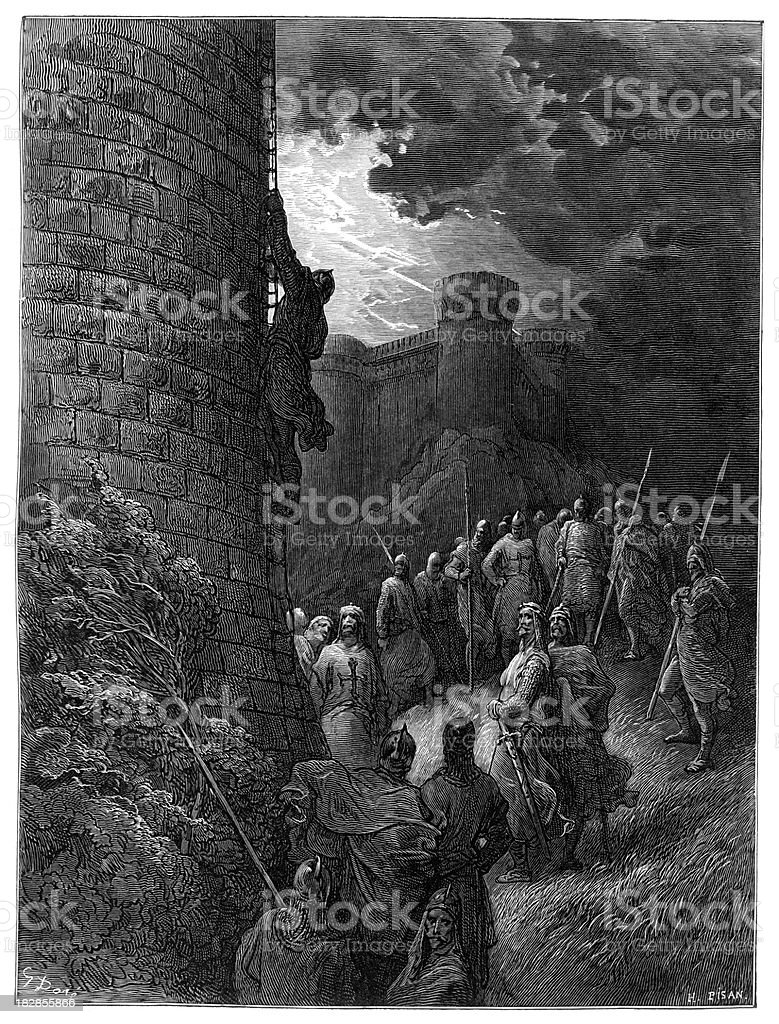 Bohemond alone mounts the ramparts of Antioch vector art illustration