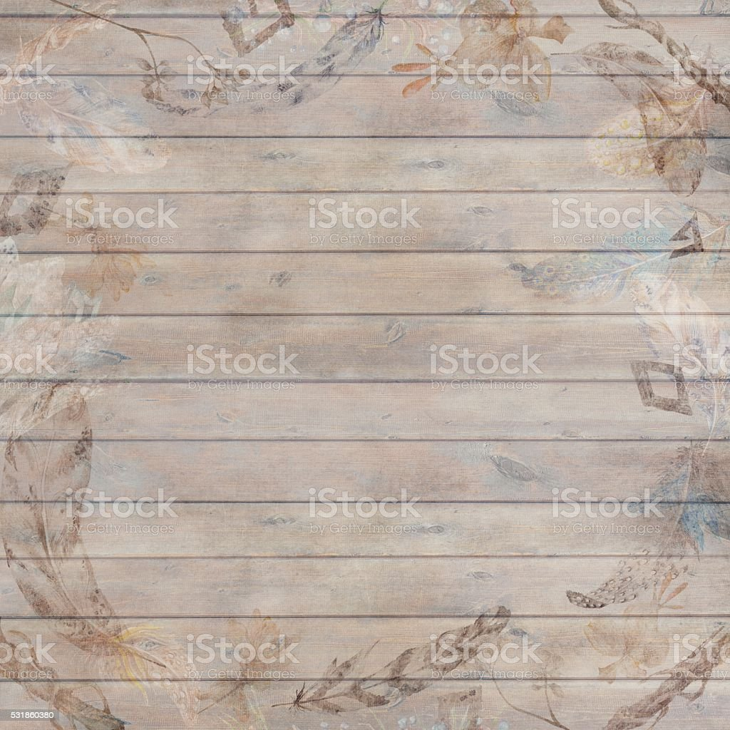 Boho Chic Fall Wood Background vector art illustration