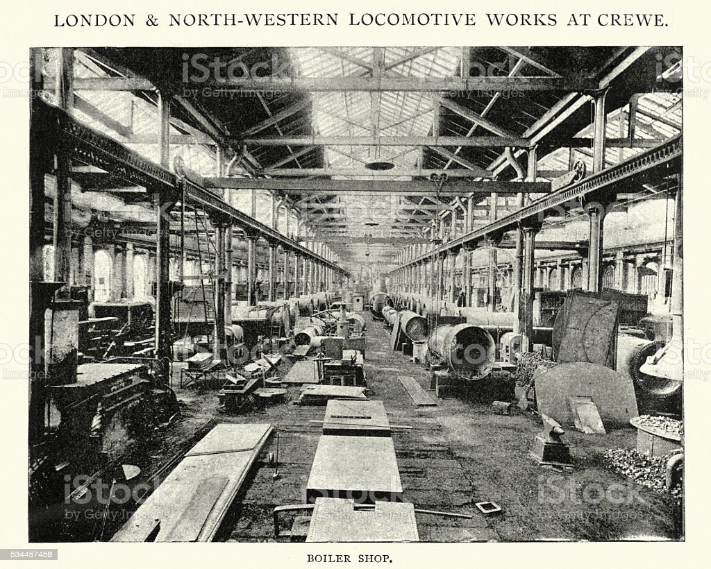 Boiler Shop at the Locomotive works at Crewe, 1892 vector art illustration