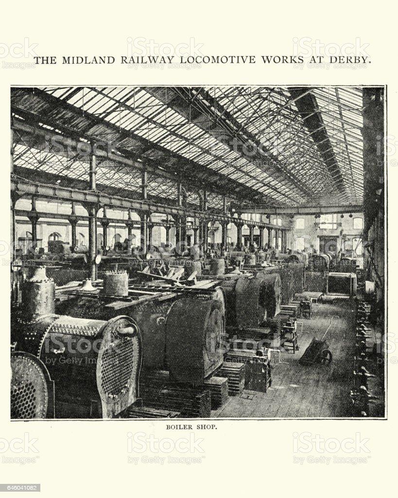 Boiler shop Midland railway locomotive works at Derby, 1892 vector art illustration