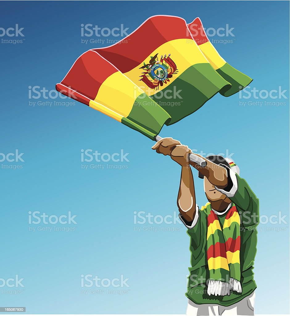 Bolivia Waving Flag Soccer Fan royalty-free stock vector art