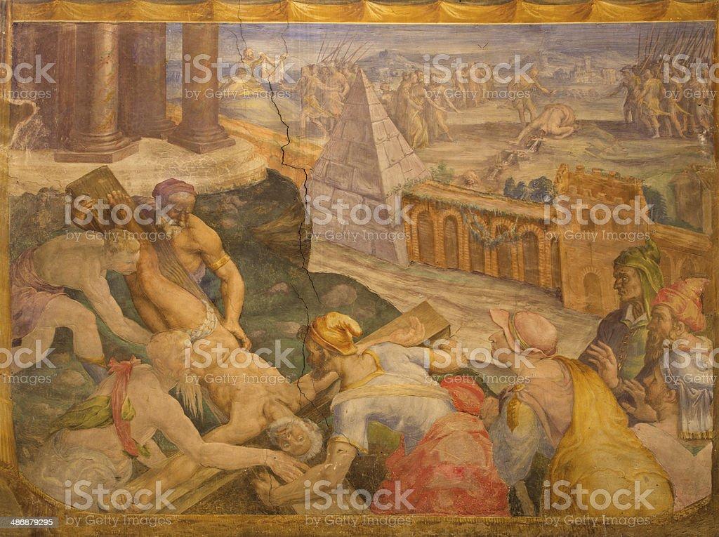 Bologna - Crucifixion of st. Peter fresco vector art illustration