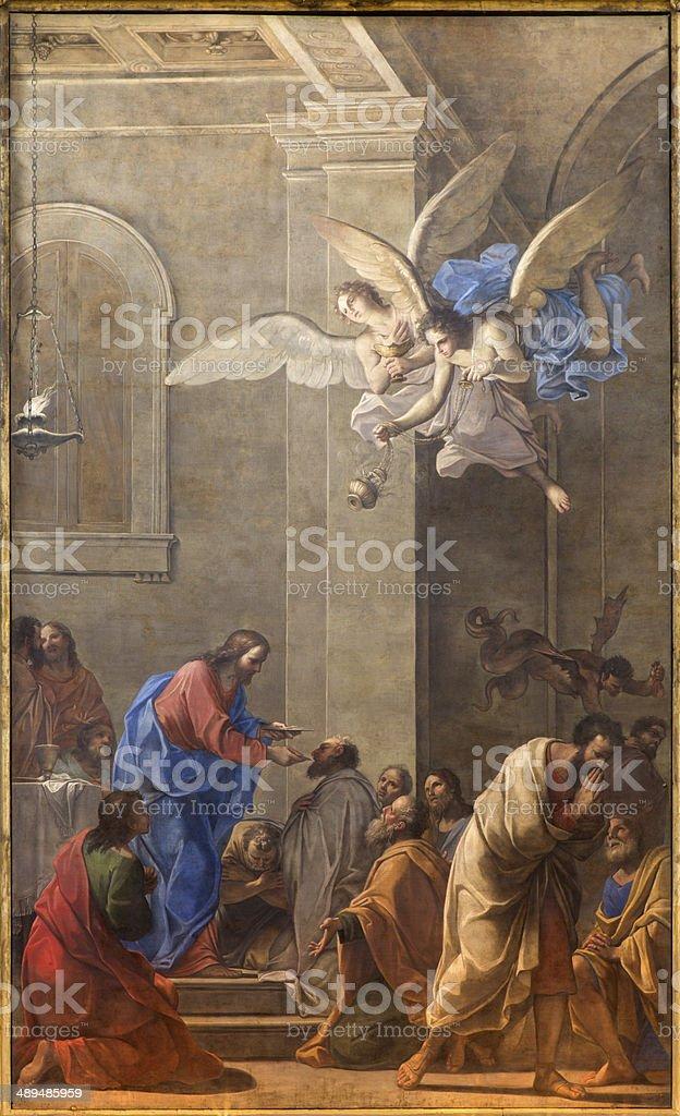 Bologna -  'La Comunione degli Apostoli' in Chiesa Corpus Christi. vector art illustration