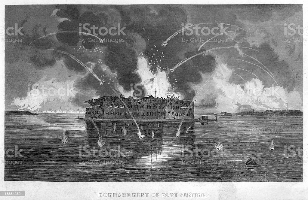 Bombardment of Fort Sumter vector art illustration