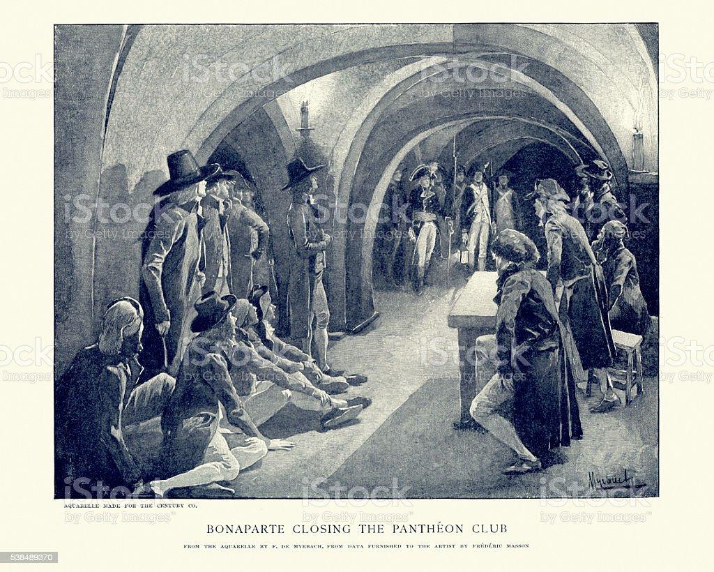 Bonaparte closing the Pantheon Club vector art illustration