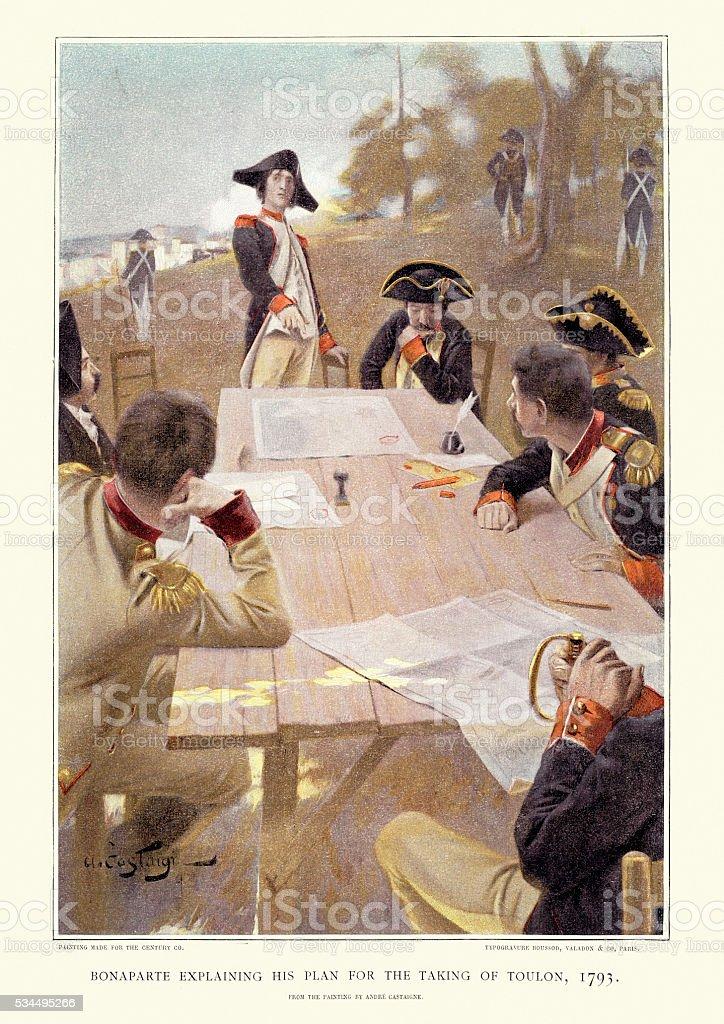 Bonaparte explaining his plan for taking Toulon, 1793 vector art illustration