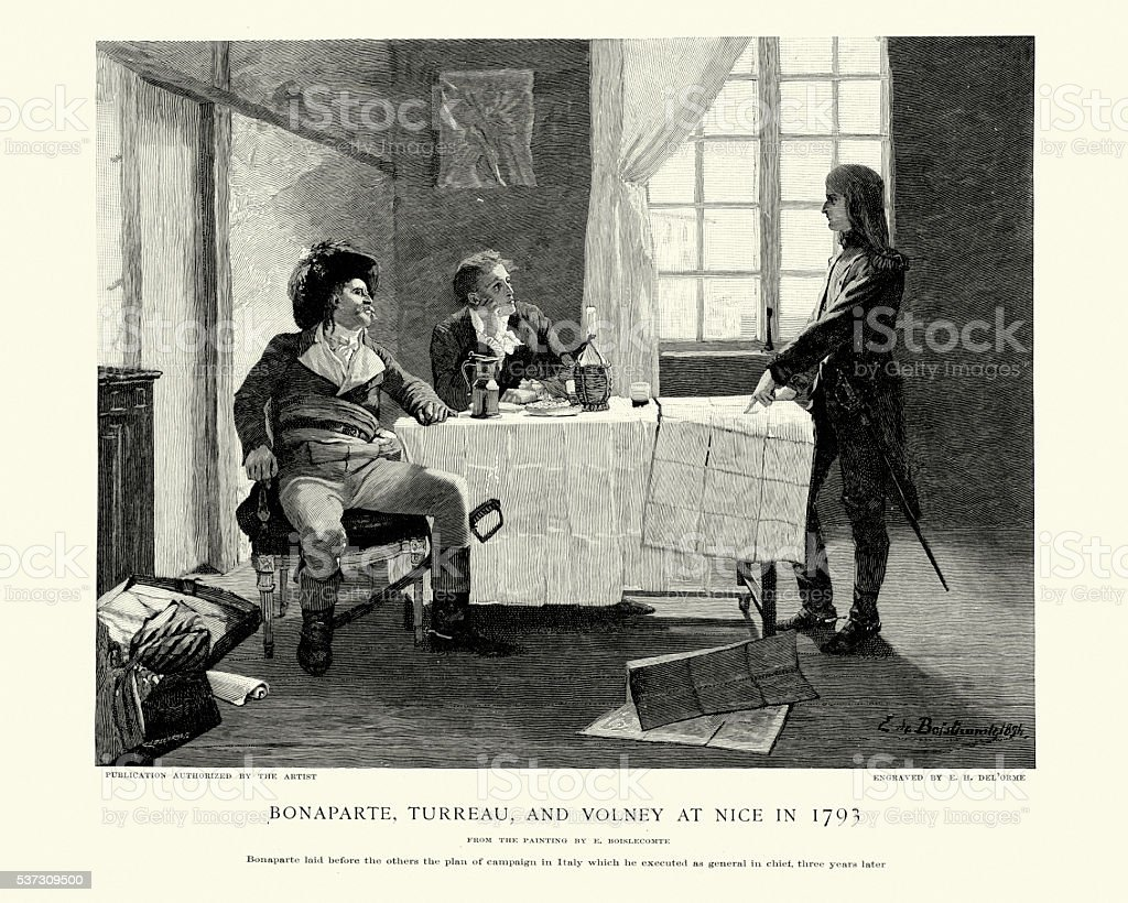 Bonaparte, Turreau and Volney at Nice 1793 vector art illustration