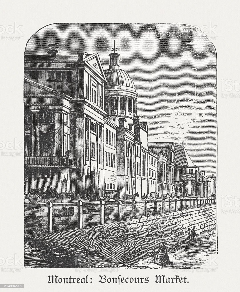 Bonsecours Market in Montreal, Canada, wood engraving, published in 1880 vector art illustration