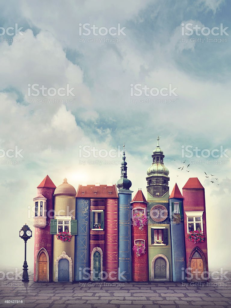 Book city vector art illustration