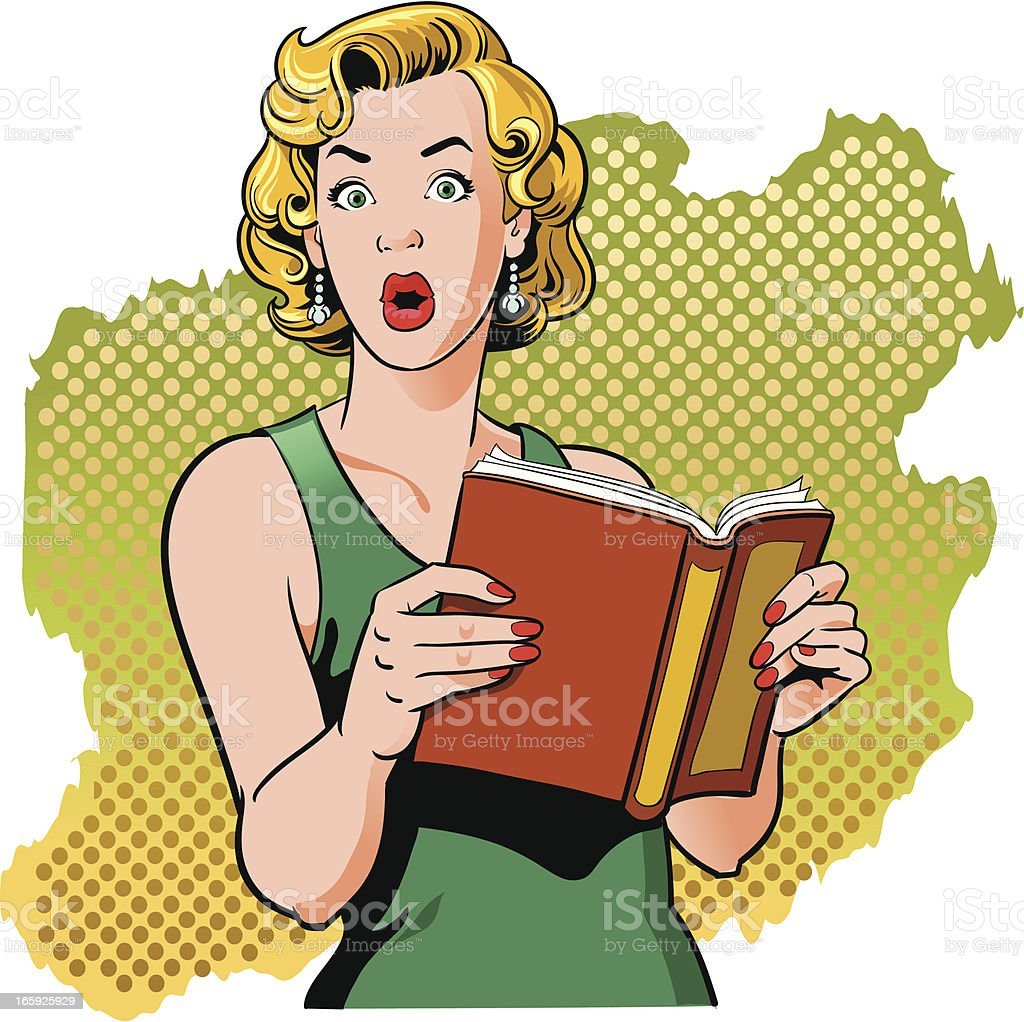 Book Reading Vintage Woman with Surprised Look vector art illustration