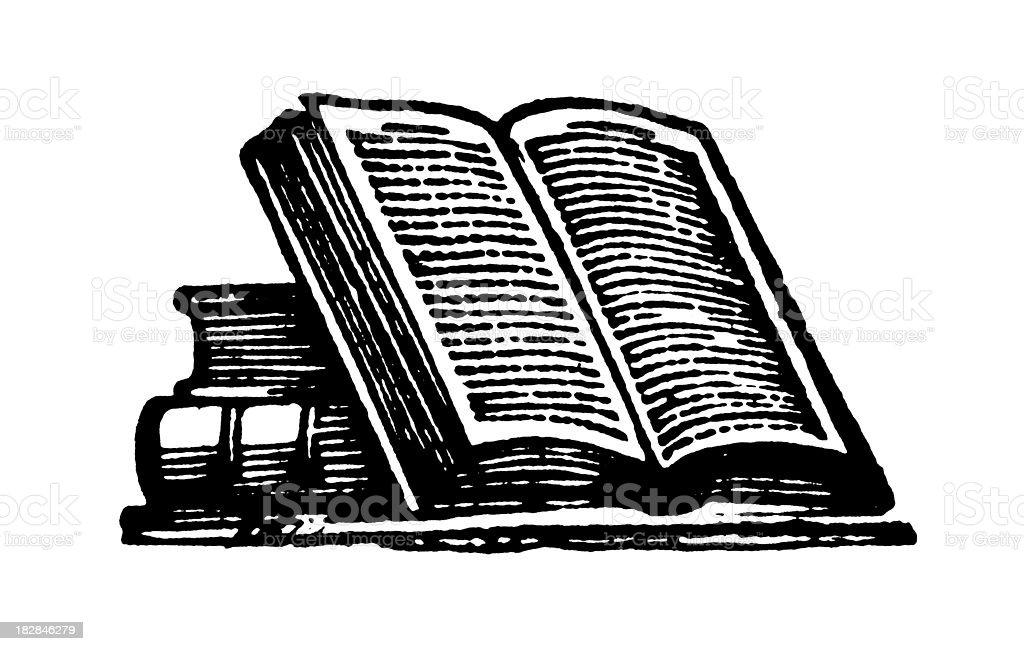 Books | Early Woodblock Illustrations vector art illustration