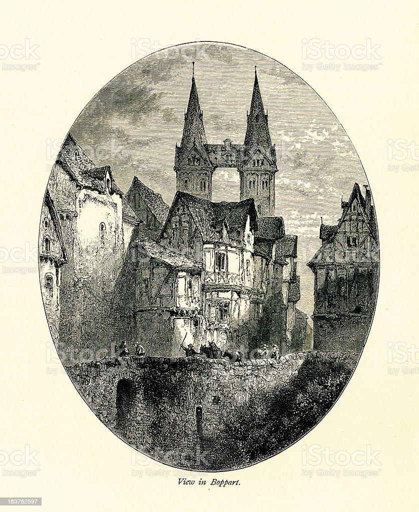 Boppard, Germany I Antique European Illustrations royalty-free stock vector art