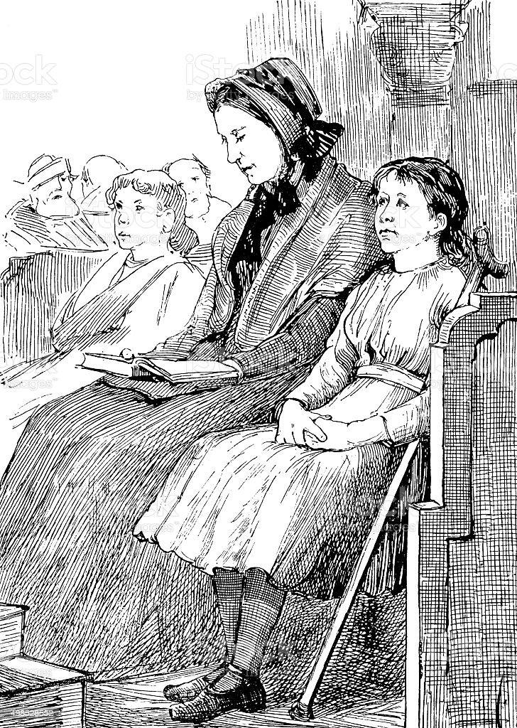 Bored Victorian girl in church vector art illustration
