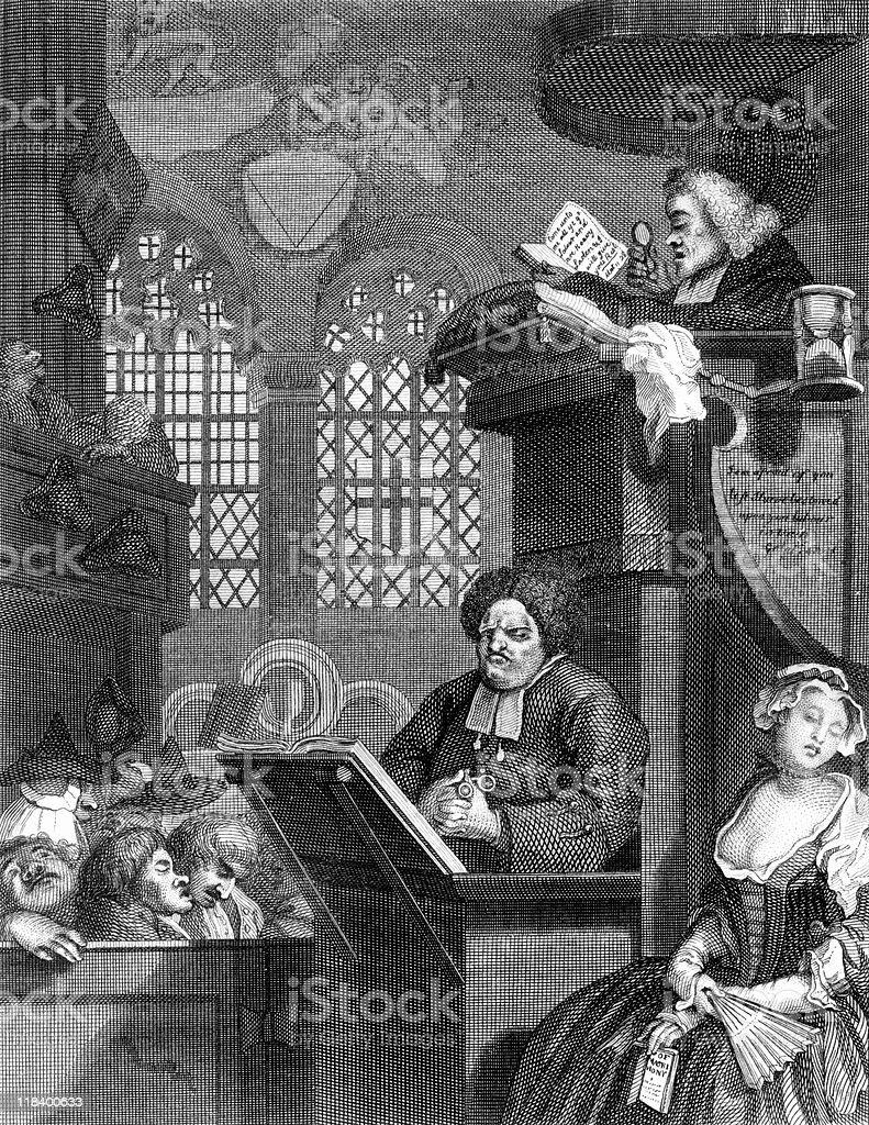 Boring Sermon Makes a Sleepy Congregation, Satire by Hogarth vector art illustration