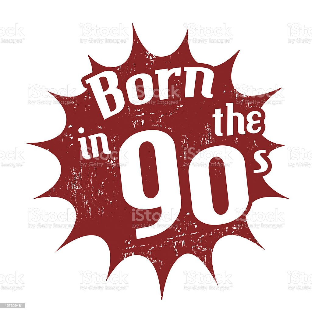 Born in the 90's stamp royalty-free stock vector art